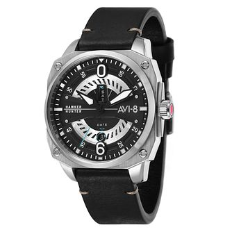 AVI-8 Men's Hawker Hunter Black Leather Strap Watch - Product number 8902305