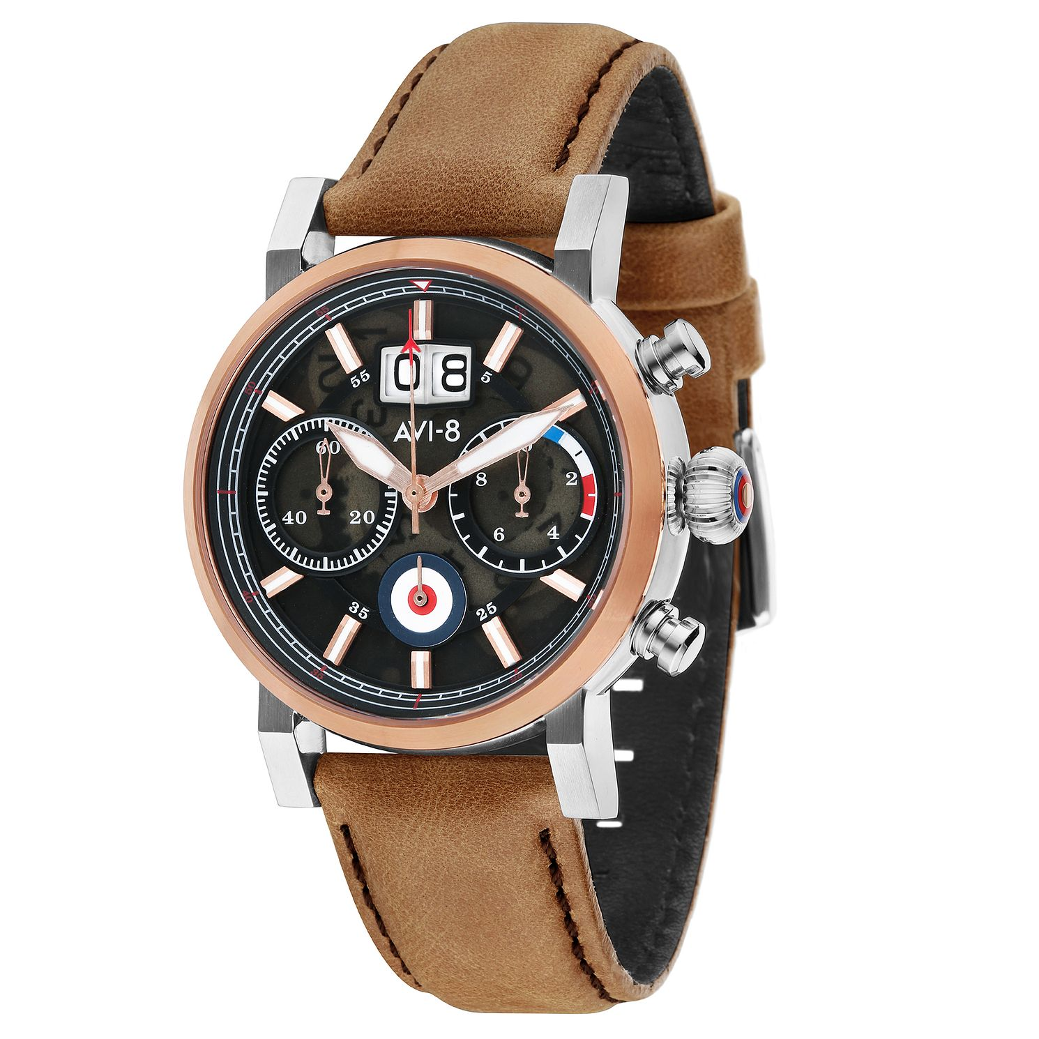 AVI-8 Men's Hawker Hurricane Tan Leather Strap Watch - Product number 8902356