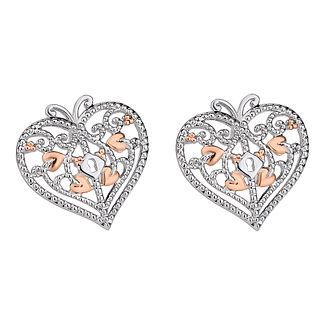Clogau 9ct Rose Gold And Silver Heart Stud Earrings - Product number 8908737
