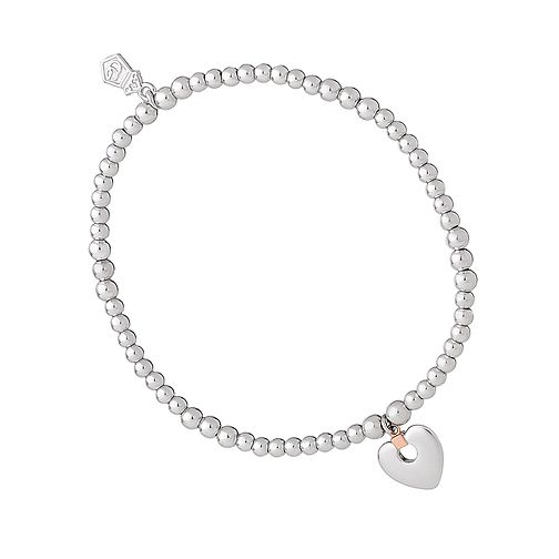 Clogau 9ct Rose Gold and Silver Cariad Heart Bracelet - Product number 8909369
