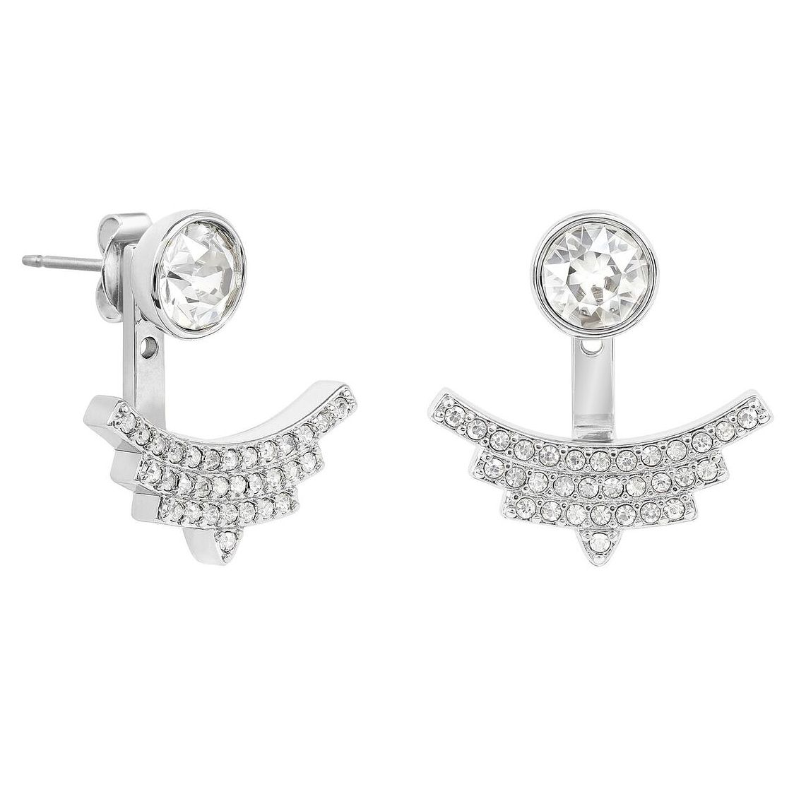 Adore Ladies' Rhodium Plated Pave Arc Jacket Earrings - Product number 8919534
