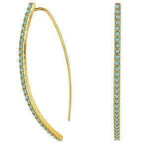 Adore Ladies' Yellow Gold Plated Turquoise Arc Earrings - Product number 8919666