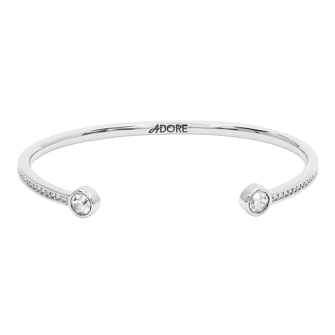 Adore Ladies' Rhodium Plated Skinny Pave Bangle - Product number 8920001