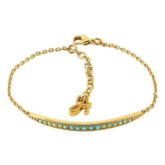 Adore' Ladies Yellow Gold Plated Turquoise Bracelet - Product number 8920060