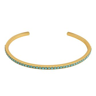 Adore' Ladies Yellow Gold Plated Turquoise Bangle - Product number 8920079