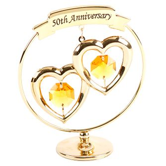 50th Anniversary Gold Plated Love Heart Ornament - Product number 8922187