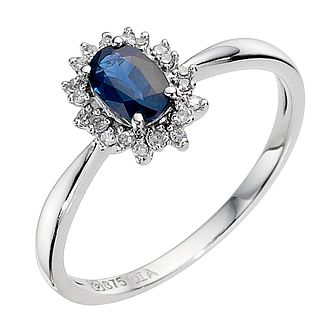 9ct White Gold Sapphire & Diamond Cluster Ring - Product number 8925372