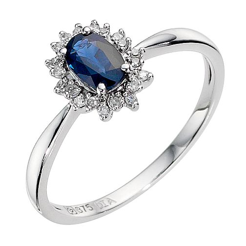 9ct white gold sapphire and diamond cluster ring - Product number 8925372