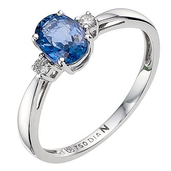 18ct White Gold Sapphire & Diamond Ring - Product number 8925690