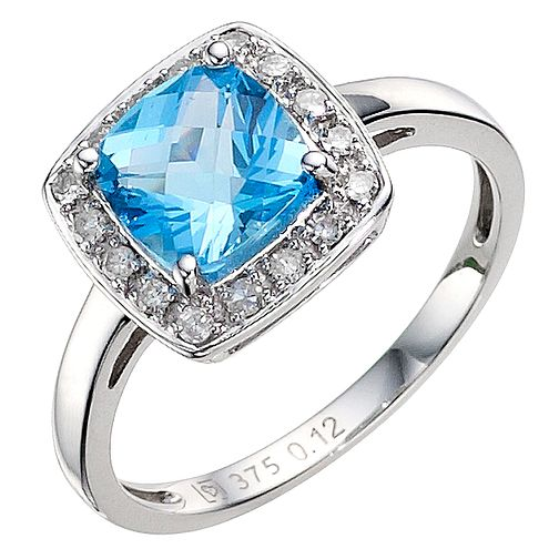 9ct white gold blue topaz ring - Product number 8926883