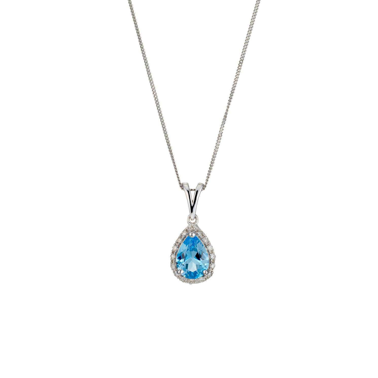 9ct White Gold Blue Topaz & Diamond Pendant Necklace - Product number 8929041