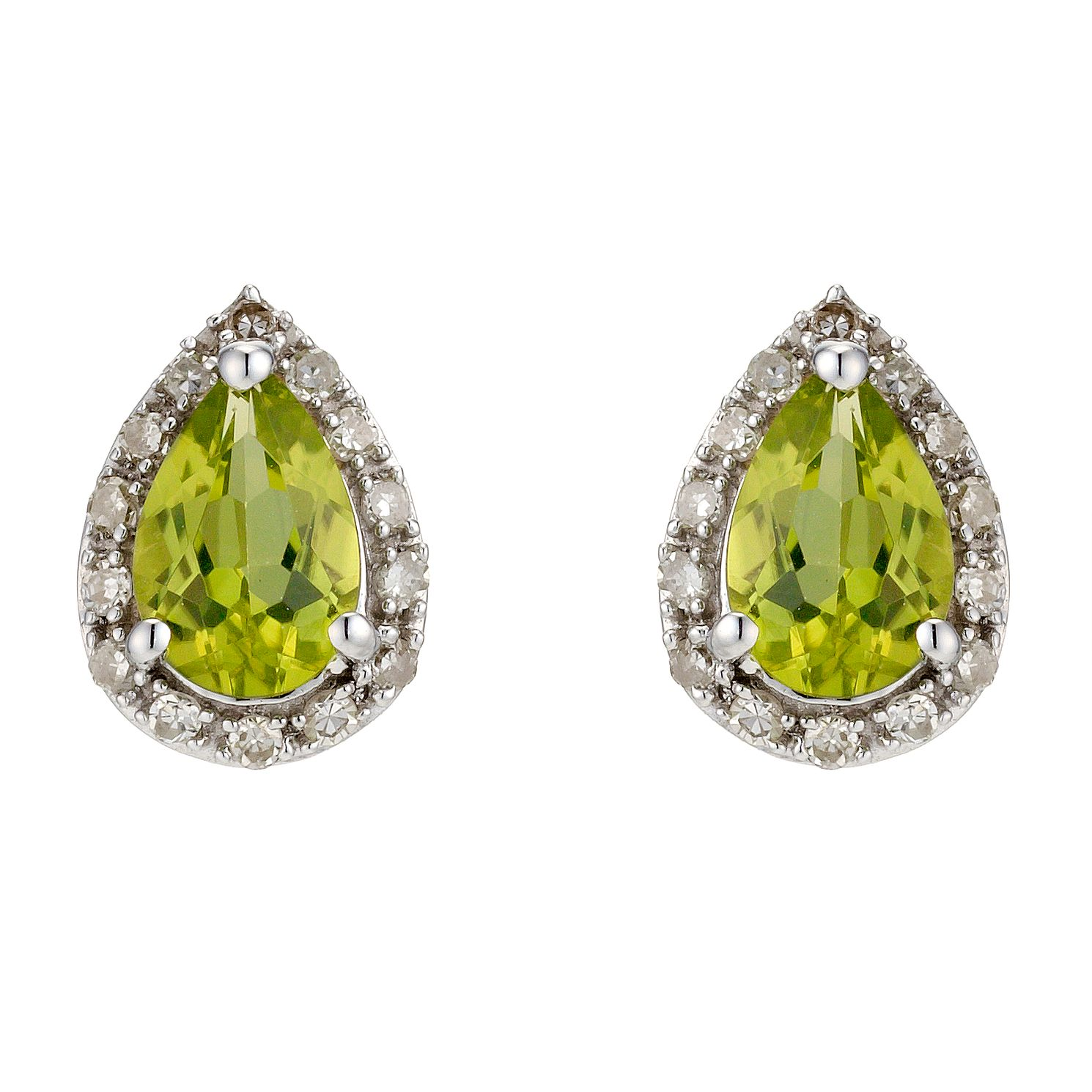 9ct White Gold Peridot & Diamond Earrings - Product number 8929068