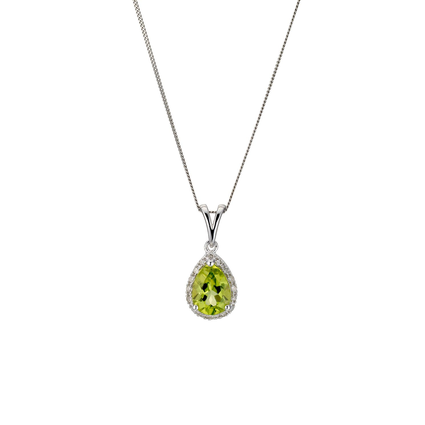 9ct White Gold, Peridot & Diamond Pendant - Product number 8929076