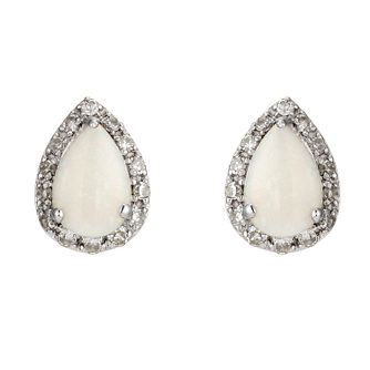 9ct White Gold Opal And Diamond Earrings - Product number 8929084