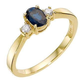 9ct Gold Sapphire & 0.10ct Diamond Ring - Product number 8929866