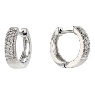 9ct White Gold 0.10ct Diamond 8mm Huggie Earrings - Product number 8930384