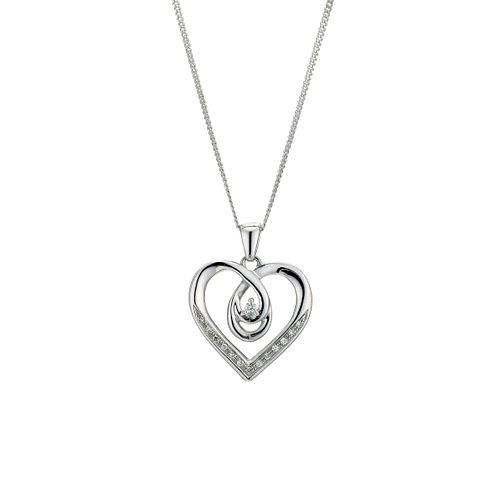 Love's Embrace silver diamond heart pendant - Product number 8930805
