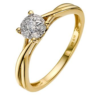 9ct Gold 0.15ct Total Diamond Cluster Ring - Product number 8931941