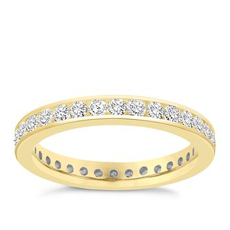 18ct Yellow Gold Channel Set 1ct Diamond Eternity Ring - Product number 8938296