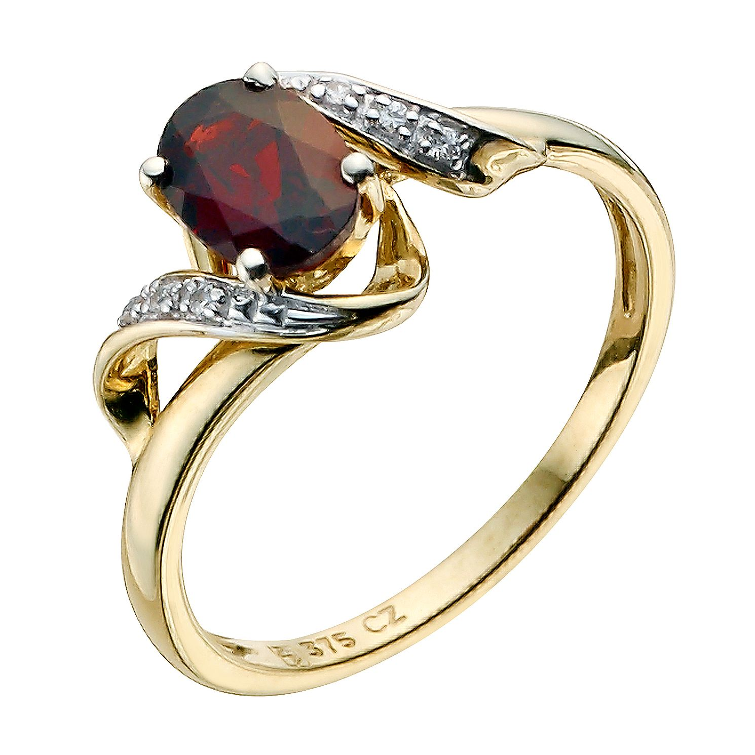 9ct Yellow Gold Garnet & Cubic Zirconia Swirl Ring - Product number 8946132
