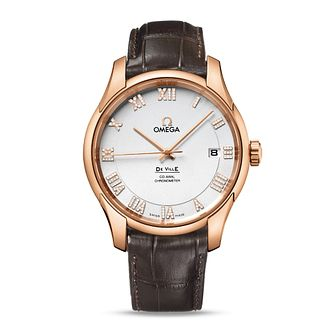 Omega De Ville men's rose gold silver dial strap watch - Product number 8948291