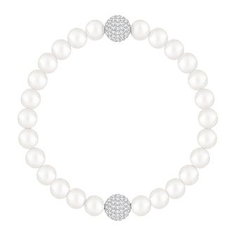 Swarovski Remix Ladies' Rhodium And Crystal Pearl Bracelet - Product number 8953325
