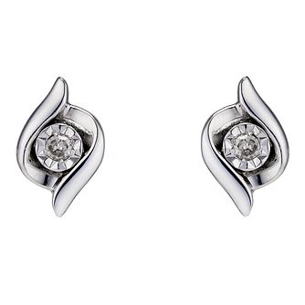 9ct White Gold & Diamond Stud Earrings - Product number 8955859