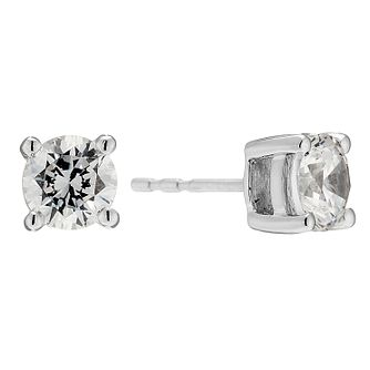 18ct white gold 2 carat solitaire earrings - Product number 8960119