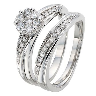 Perfect Fit 9ct White Gold 1/2ct Round Diamond Bridal Set - Product number 8968446