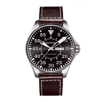 Hamilton Khaki Aviation Pilot Auto Men's Brown Strap Watch - Product number 8973369