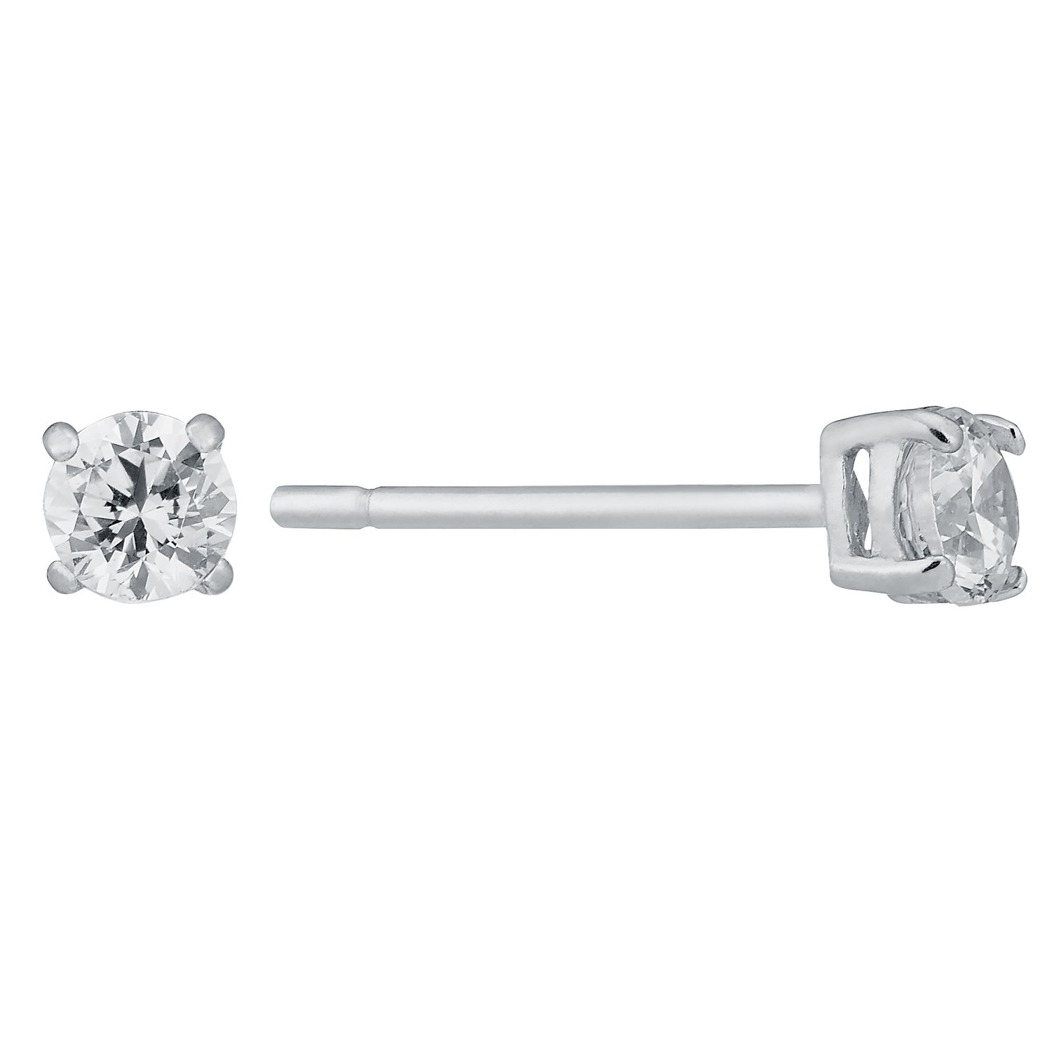 9ct White Gold Cubic Zirconia 3mm Stud Earrings - Product number 8983186