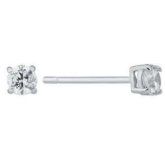9ct White Gold 3mm Cubic Zirconia Claw Set Stud Earrings - Product number 8983186