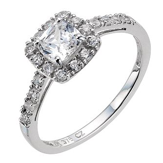 9ct White Gold Cushion Cut Cubic Zirconia Shoulder Ring - Product number 8984239