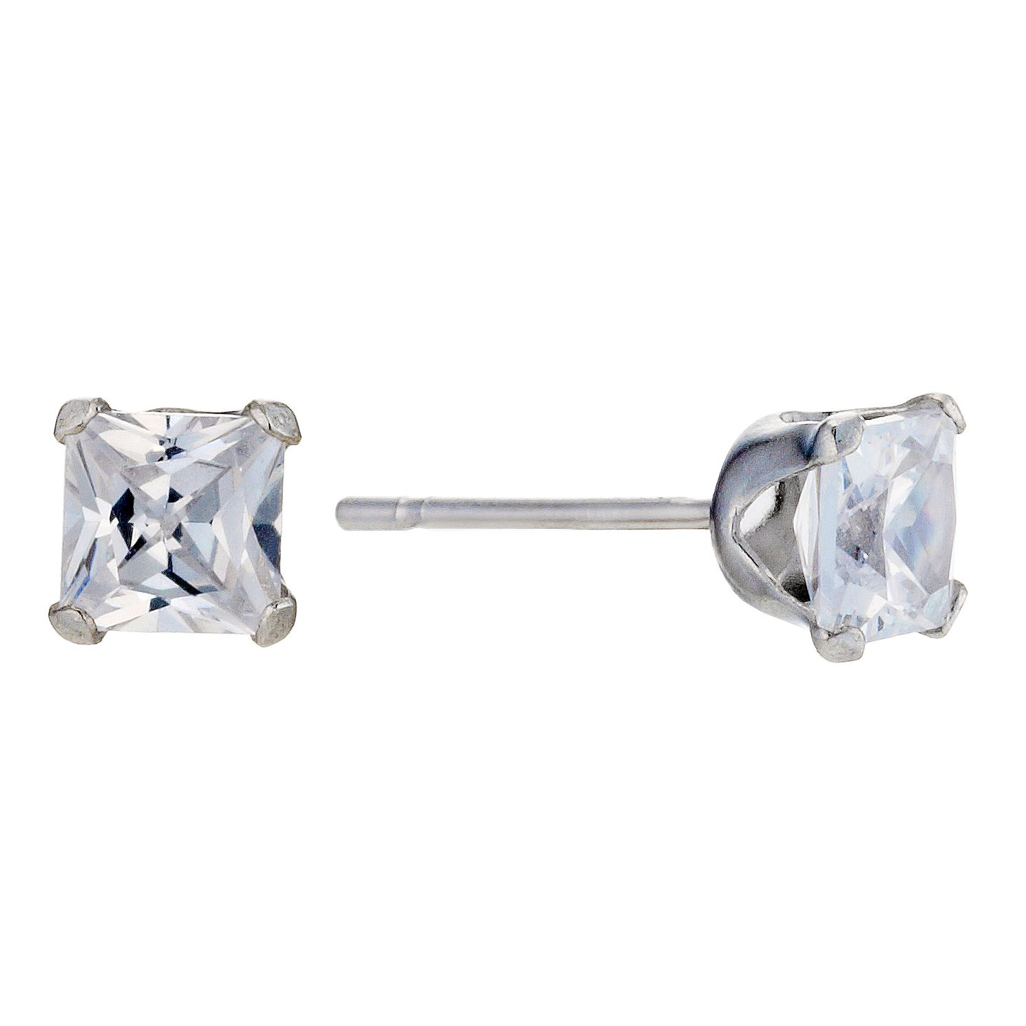 9ct White Gold Cubic Zirconia Square 4mm Stud Earrings - Product number 8988137