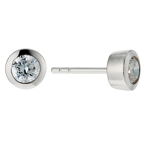 Silver & Cubic Zirconia Round Stud Earrings - Product number 9004998