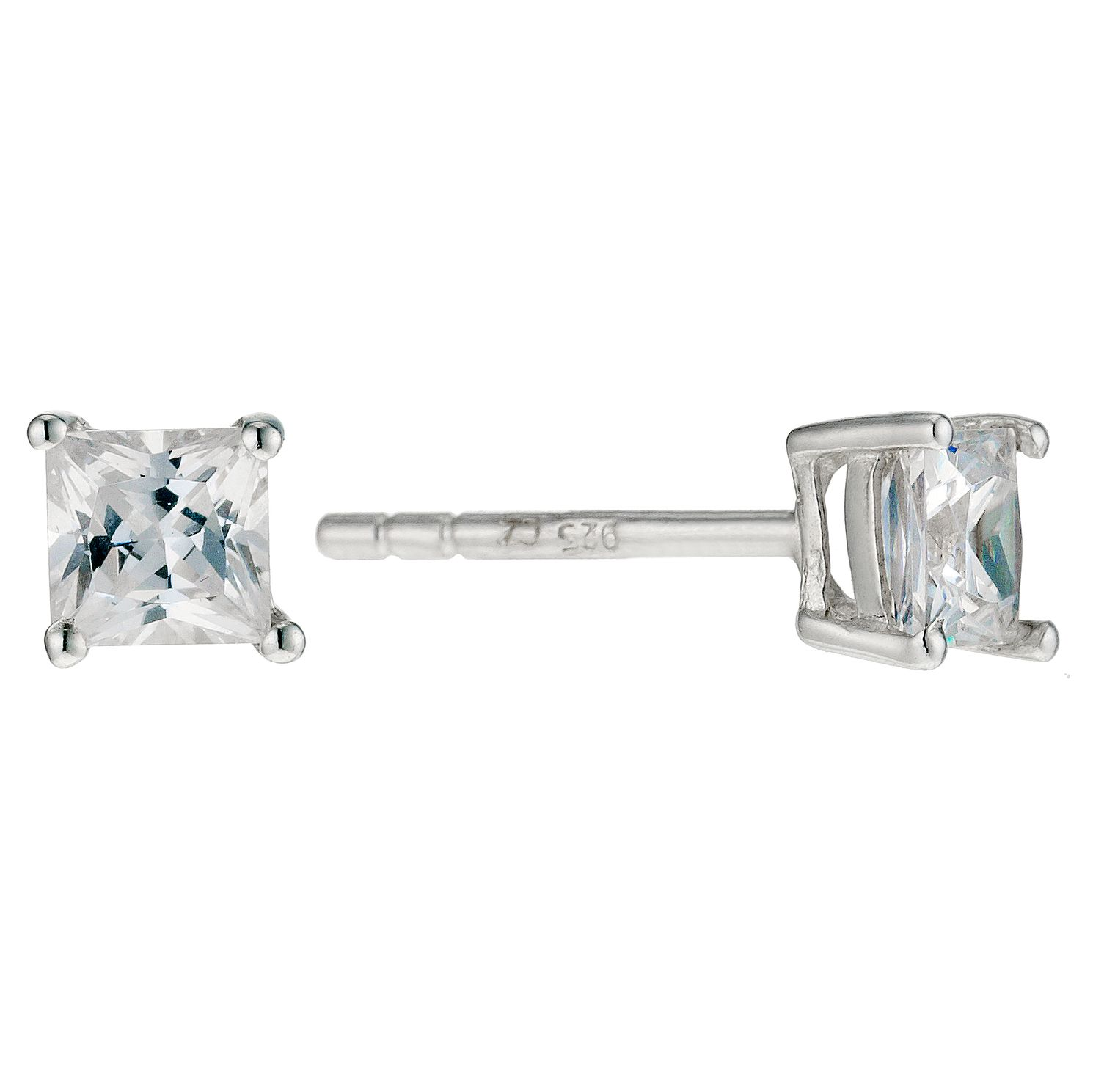 Sterling Silver Cubic Zirconia 4mm Square Stud Earrings - Product number 9005005