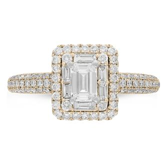 Neil Lane 14ct Yellow Gold 0.98ct Diamond Emerald Cut Ring - Product number 9009701