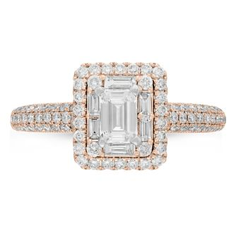 Neil Lane 14ct Rose Gold 0.98ct Diamond Emerald Cut Ring - Product number 9011080