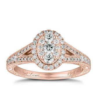 Neil Lane 14ct Rose Gold 0.62ct Oval Diamond Cluster Ring - Product number 9015582