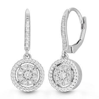 Neil Lane 14ct White Gold 0.25ct Diamond Cluster Earrings - Product number 9018875