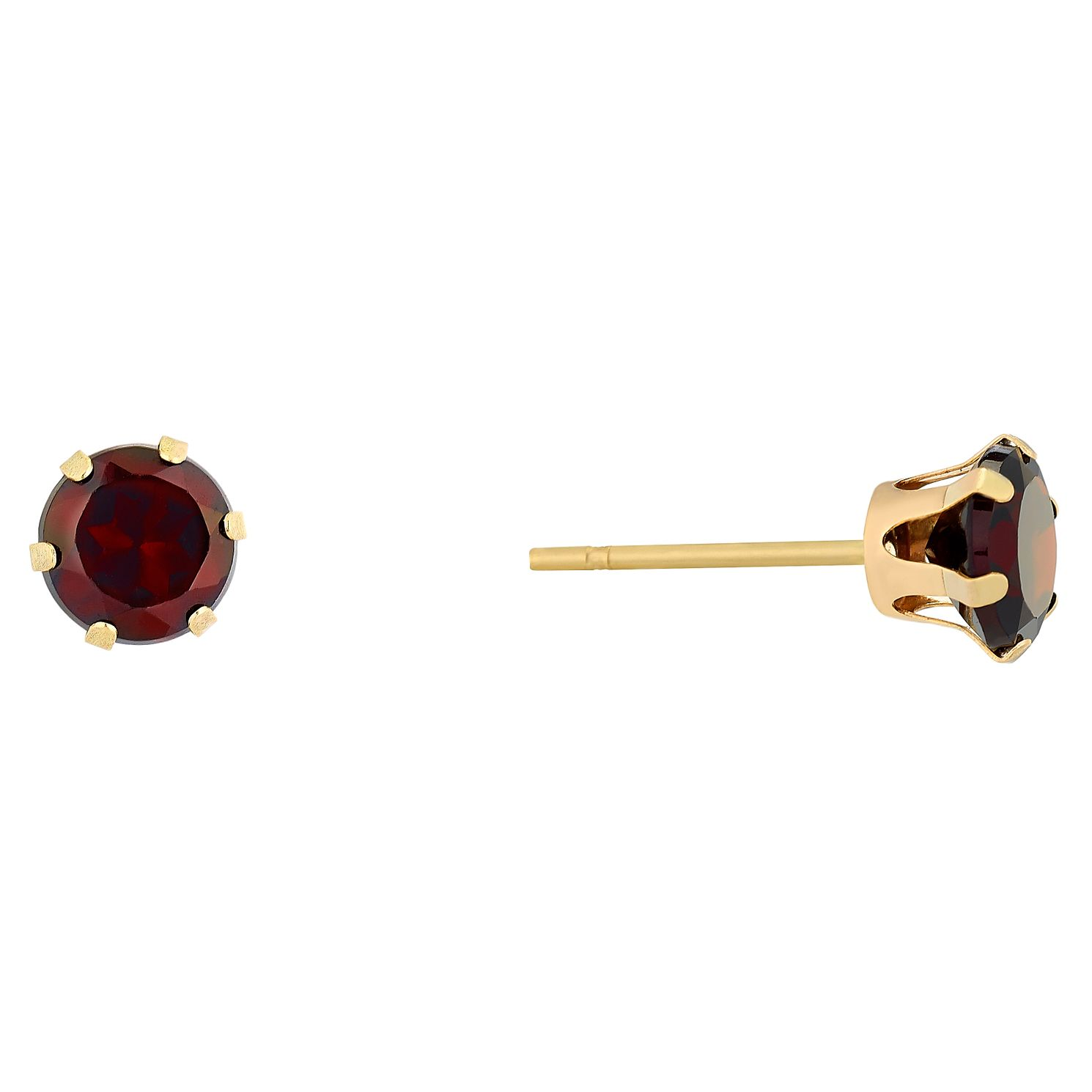 9ct Yellow Gold Garnet 5mm Stud Earrings - Product number 9020462