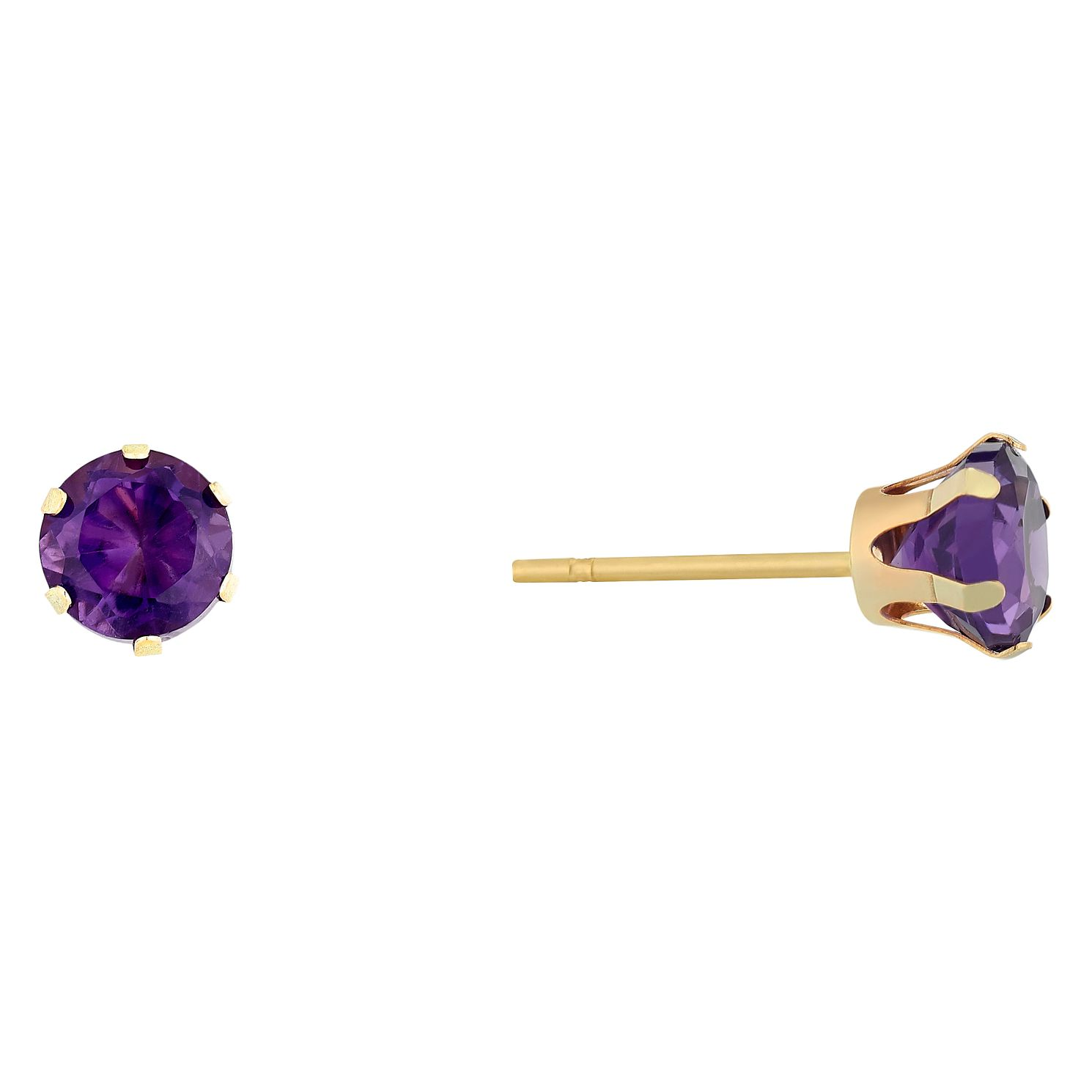 9ct Yellow Gold Amethyst 5mm Stud Earrings - Product number 9020470