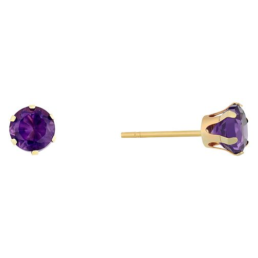 9ct Yellow Gold Amethyst Stud Earrings - Product number 9020470