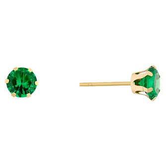 9ct Yellow Gold Created Emerald Stud Earrings - Product number 9020497