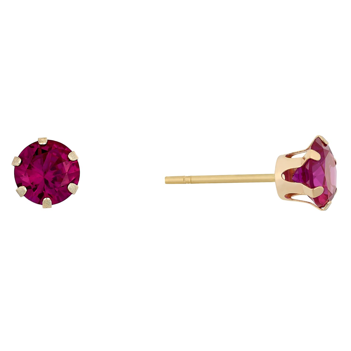 9ct Yellow Gold Created Ruby 5mm Stud Earrings - Product number 9020519