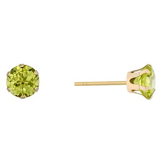 9ct Yellow Gold Peridot 5mm Stud Earrings - Product number 9020527