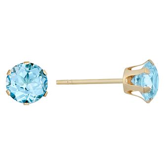 9ct Yellow Gold Blue Topaz 5mm Stud Earrings - Product number 9020578