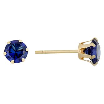9ct Yellow Gold Imitation Tanzanite Stud Earrings - Product number 9020586