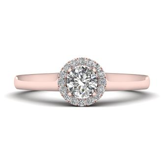 The Diamond Story 18ct Rose Gold 0.33ct Round Halo Ring - Product number 9032428