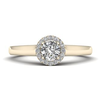 The Diamond Story 18ct Yellow Gold 0.33ct Round Halo Ring - Product number 9032959